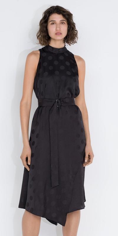 Dresses  | Spot Tie Neck Midi Dress