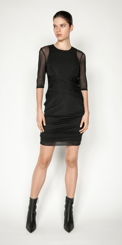 Dresses | Stripe Mesh Ruched Mini Dress