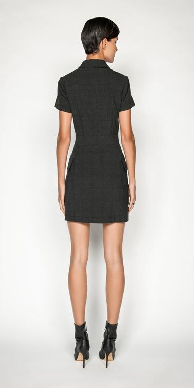 Dresses   Melange Viscose Check Utility Dress