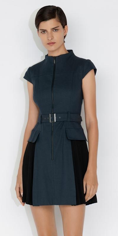 Dresses  | Pleated Cotton Utility Dress