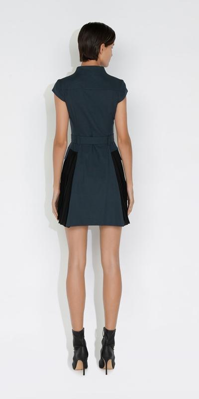 Dresses   Pleated Cotton Utility Dress