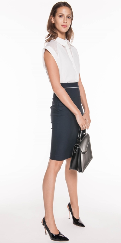 Skirts | Ink Double Weave Pencil Skirt