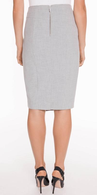 Skirts | Grey Melange Layered Pencil Skirt