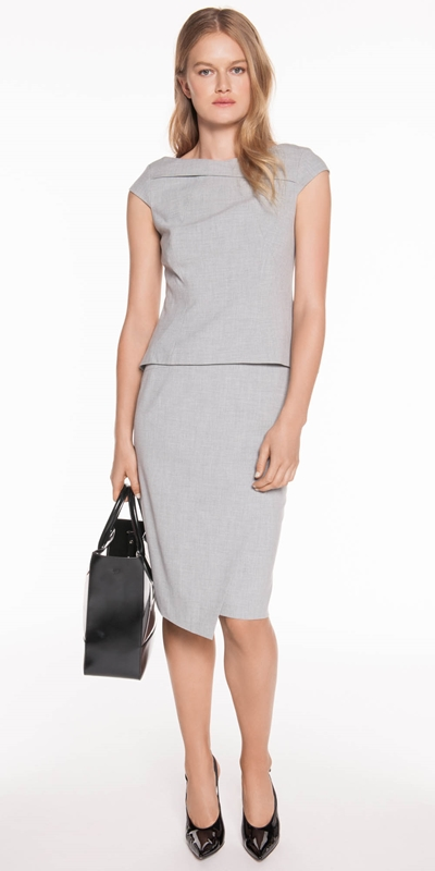 Skirts | Grey Melange Layered Pencil Skirt