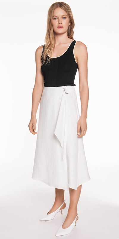 Skirts | Textured Tencel Wrap Skirt