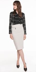 Skirts | Grid Check Pencil Skirt