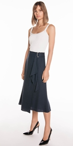 Skirts | Textured Tencel Wrap Skirt
