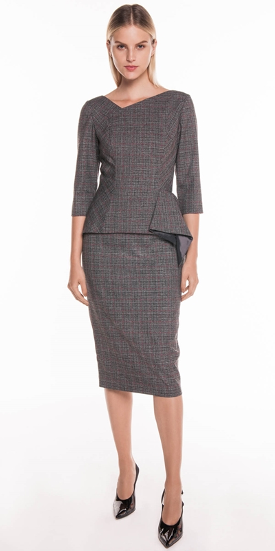Sale | Two Tone Check Pencil Skirt
