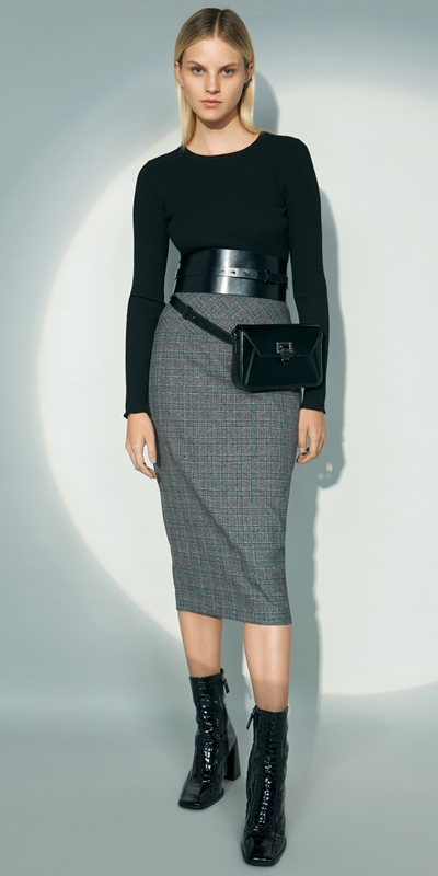 Wear to Work  | Two Tone Check Pencil Skirt