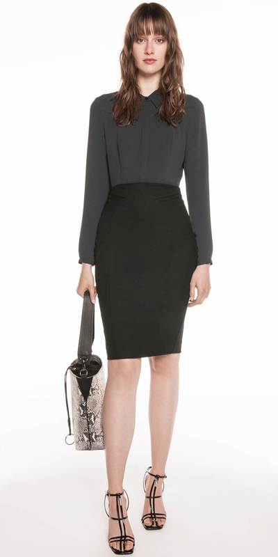 Skirts | Twill Panelled Pencil Skirt