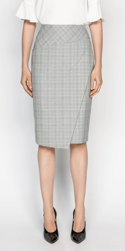 Sale  | Check Asymmetric Pencil Skirt