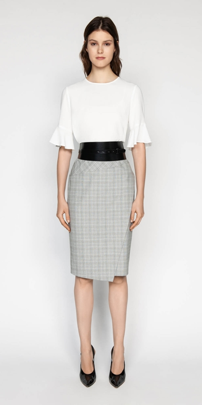 Wear to Work | Check Asymmetric Pencil Skirt