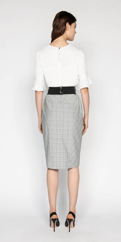 Skirts | Check Asymmetric Pencil Skirt