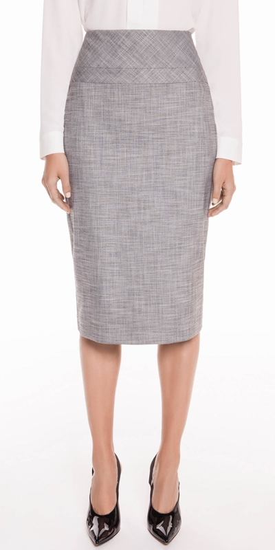 Skirts  | Grey Melange Pencil Skirt
