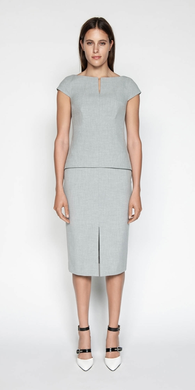 Sale | Melange Split Front Pencil Skirt