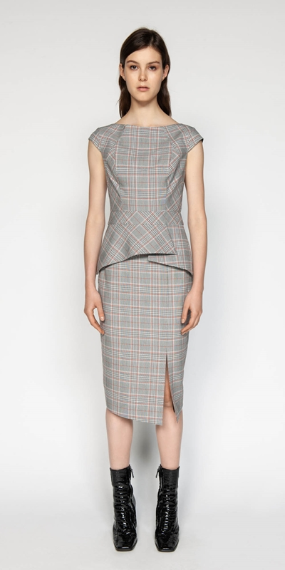 Skirts | Houndstooth Split Front Skirt