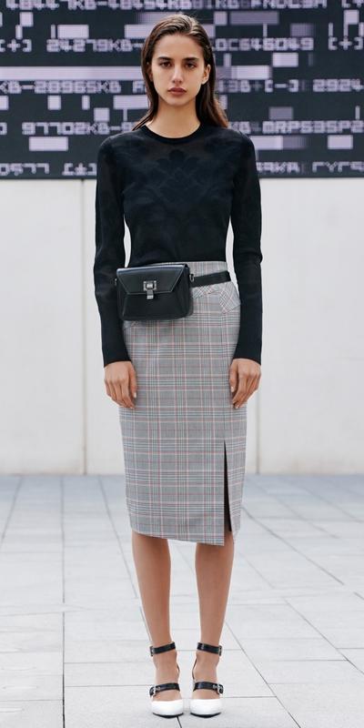 Skirts | Houndstooth Split Front Skirt