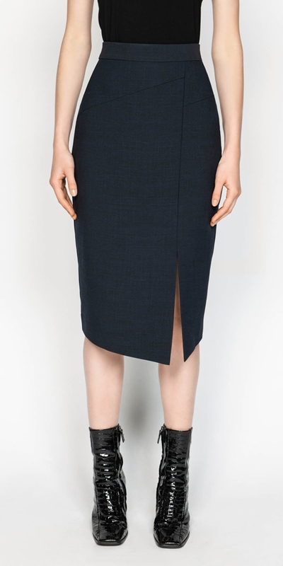 Skirts  | Ink Textured Crepe Skirt