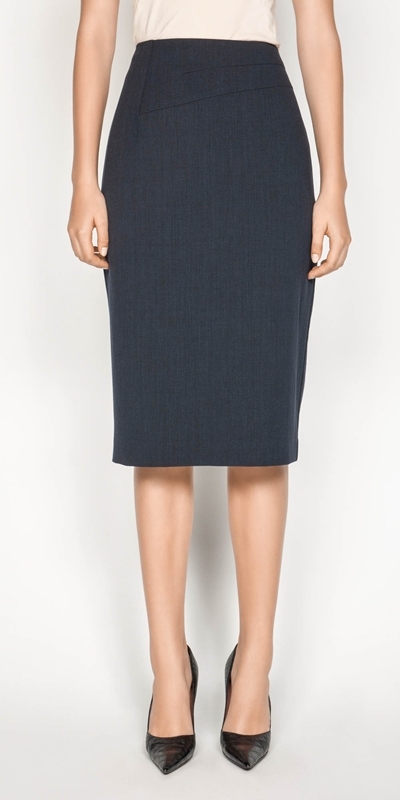 Skirts  | Textured Crepe Pencil Skirt