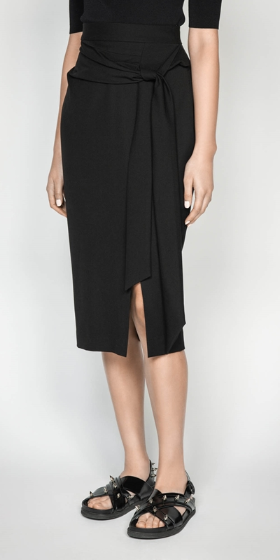 Skirts  | Textured Twill Pencil Skirt