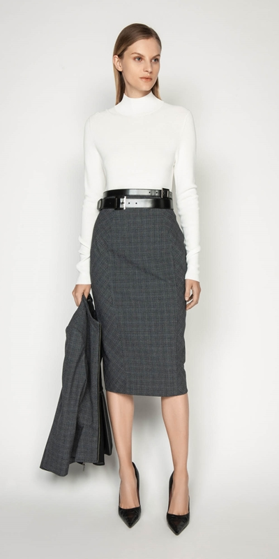 Skirts | Melange Check Pencil Skirt