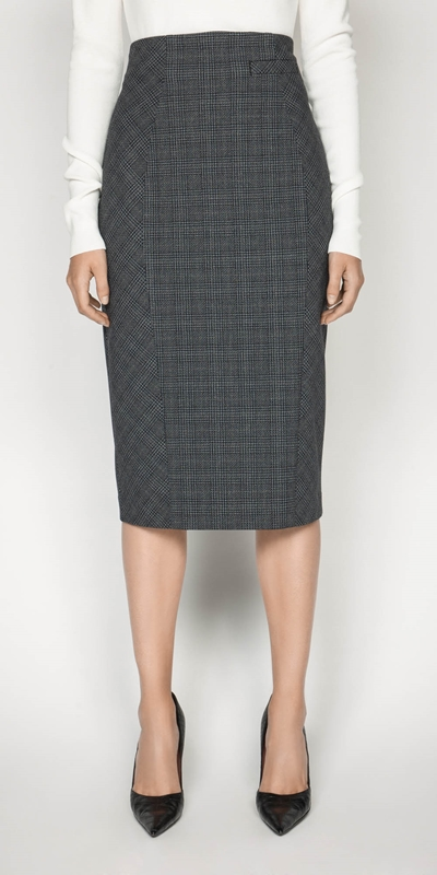 Wear to Work  | Melange Check Pencil Skirt
