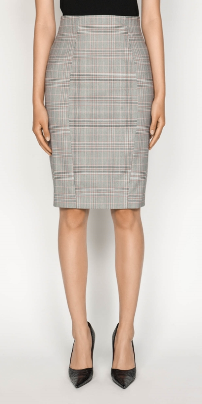 Skirts  | Highlight Check Pencil Skirt