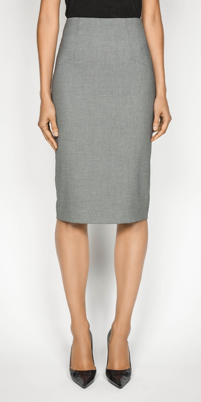 Skirts  | Birdseye Angled Pencil Skirt