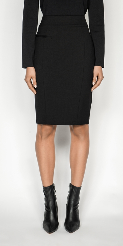 Cue Cares - Sustainable  | Welt Detail Suit Pencil Skirt
