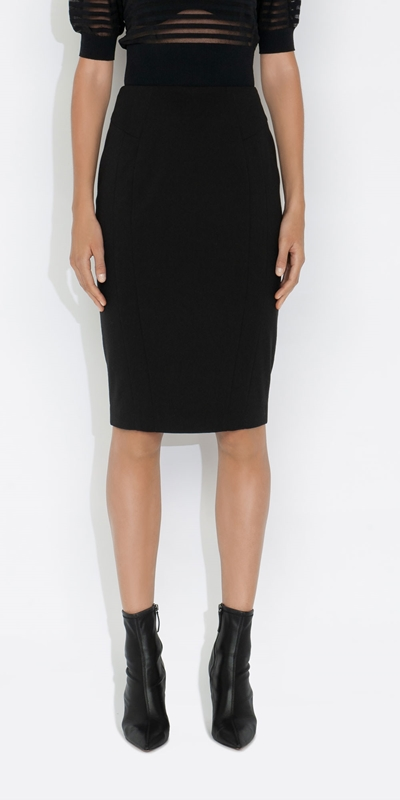 Cue Cares - Sustainable  | Eco Poly Viscose Midi Pencil Skirt