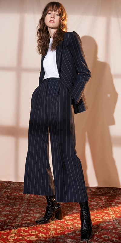 Wear to Work  | Stripe Crepe Crop Wide Leg Pant