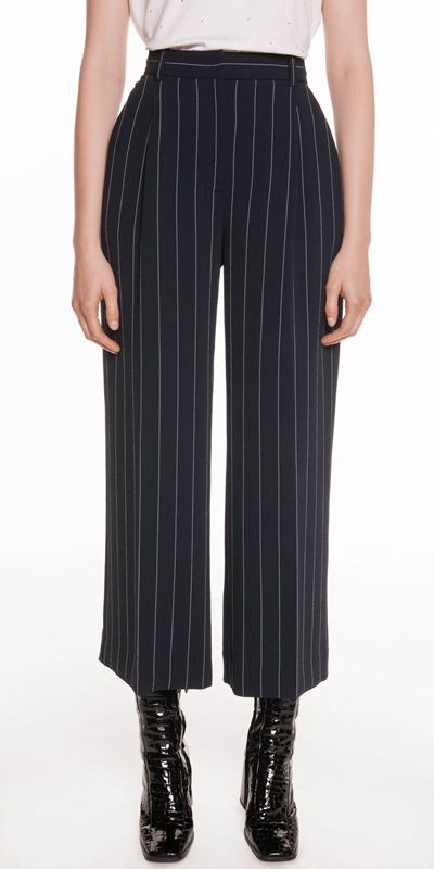 Pants | Stripe Crepe Crop Wide Leg Pant