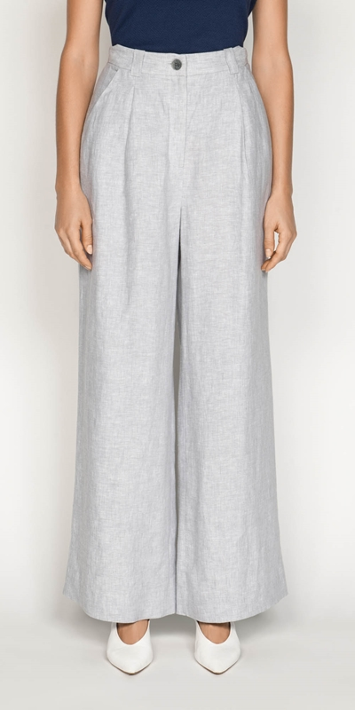 Pants  | Grey Linen Wide Leg Pant