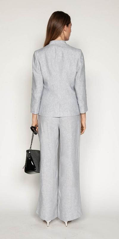 Pants | Grey Linen Wide Leg Pant