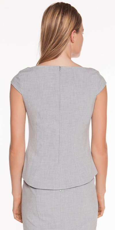 Tops | Grey Melange Shell Top