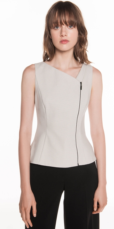 Wear to Work | Grid Check Zip Front Top
