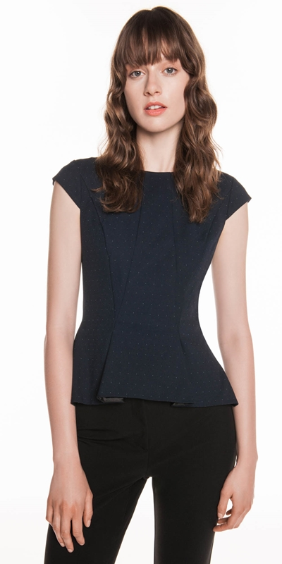 Tops  | Coloured Pin Spot Peplum Top