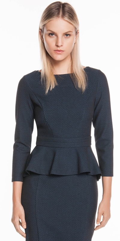 Tops  | Textured Diamond Peplum Top