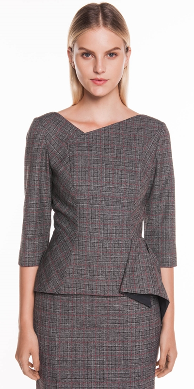 Tops | Two Tone Check Draped Peplum Top