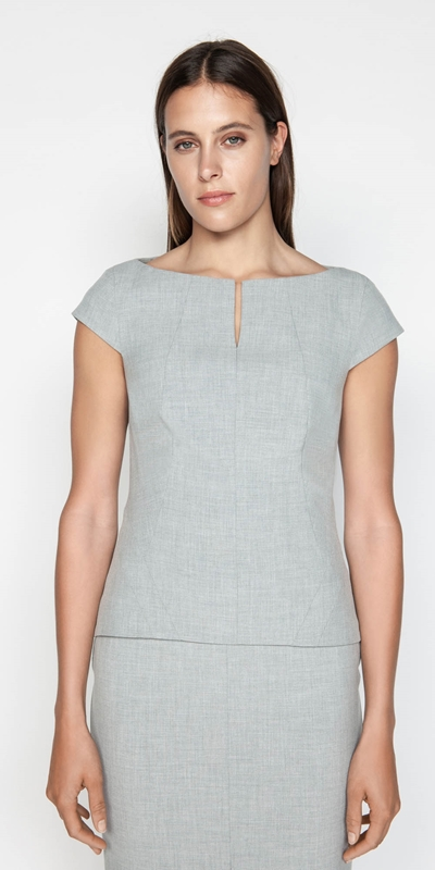 Sale  | Melange Split Neck Shell Top