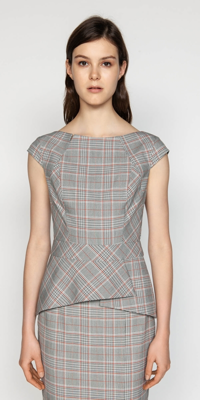 Tops  | Houndstooth Shell Top
