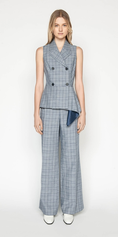 Wear to Work | Linen Houndstooth Collared Wrap Top