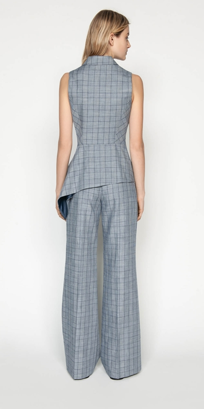Tops   Linen Houndstooth Collared Wrap Top