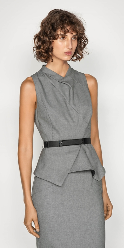 Sale  | Birdseye Draped Neck Peplum Top