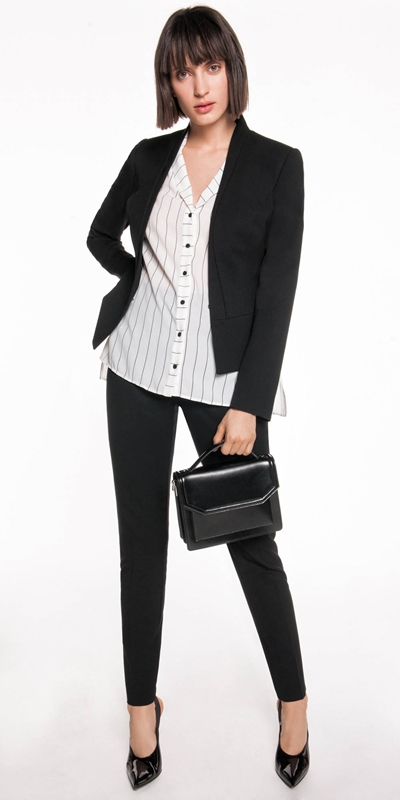 Jackets | Layered Raised Collar Suit Jacket