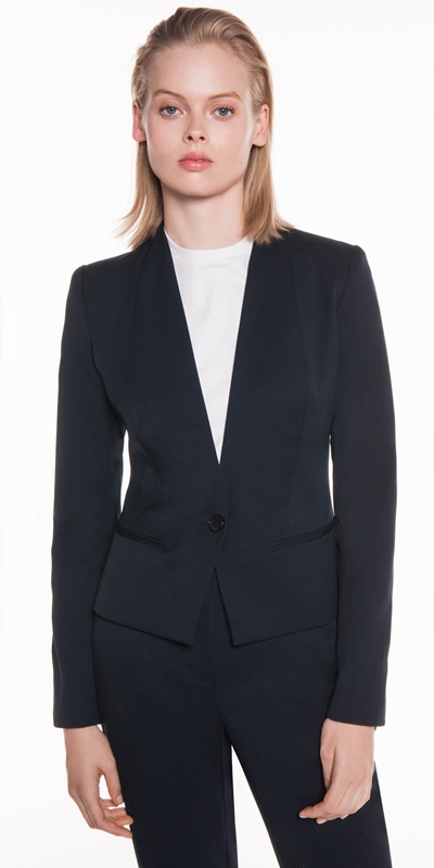 Jackets | Twill Raised Collar Suit Jacket