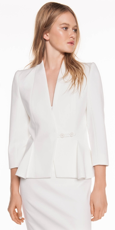 Jackets | Ivory Raised Collar Jacket