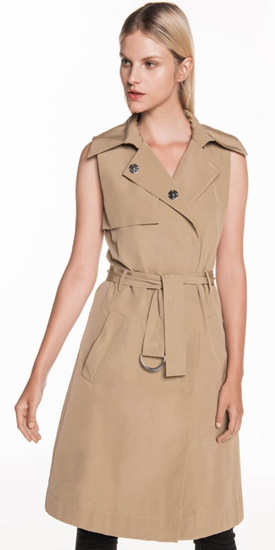 Jackets | Taupe Sleeveless Trench