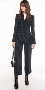 Jackets | Stripe Crepe Double Breasted Jacket