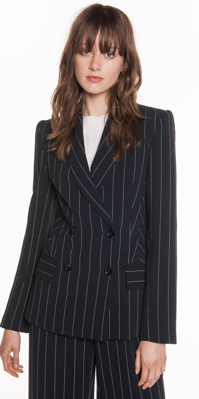 Jackets | Stripe Crepe Double Breasted Jacket